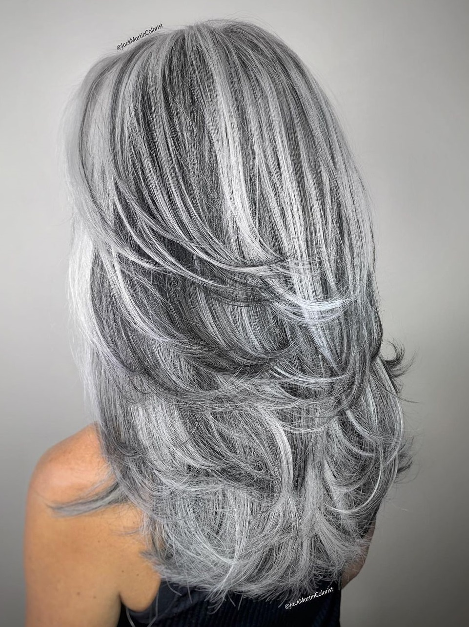 Long Gray Hair with Swoopy Layers