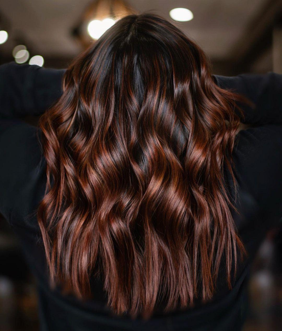 Deep Chocolate Hair with Auburn Highlights