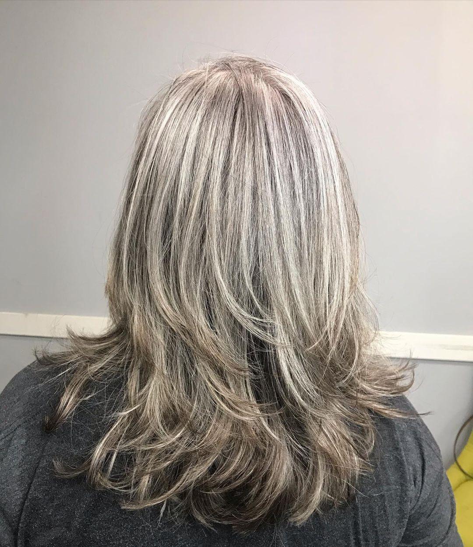 Medium Shiny Layered Silver Hair