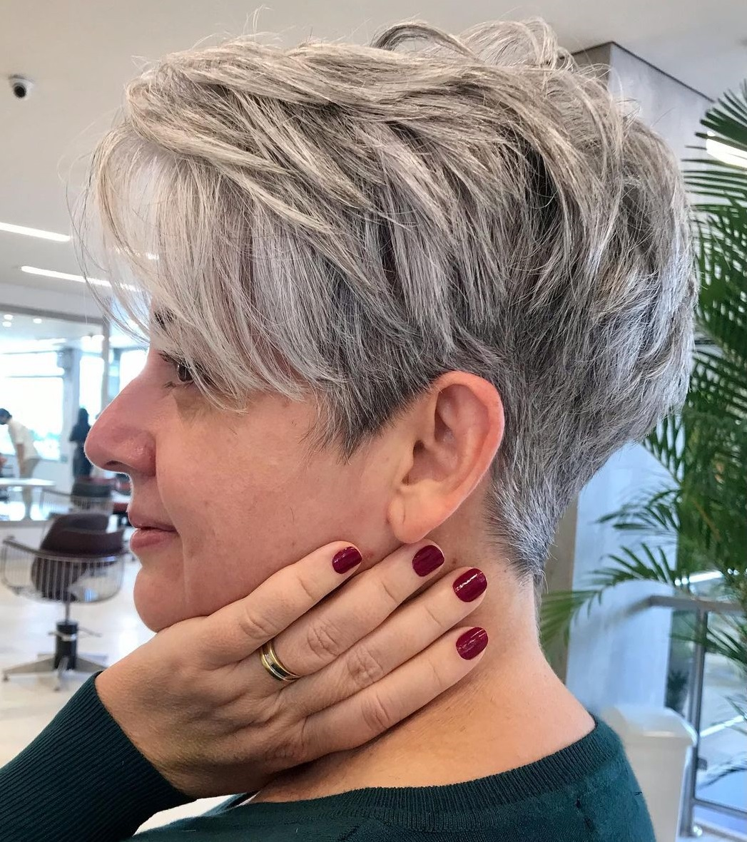 Gray Pixie with Short and Long Strands