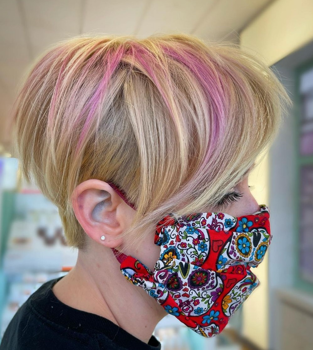 Long Blonde Pixie with Pink Highlights