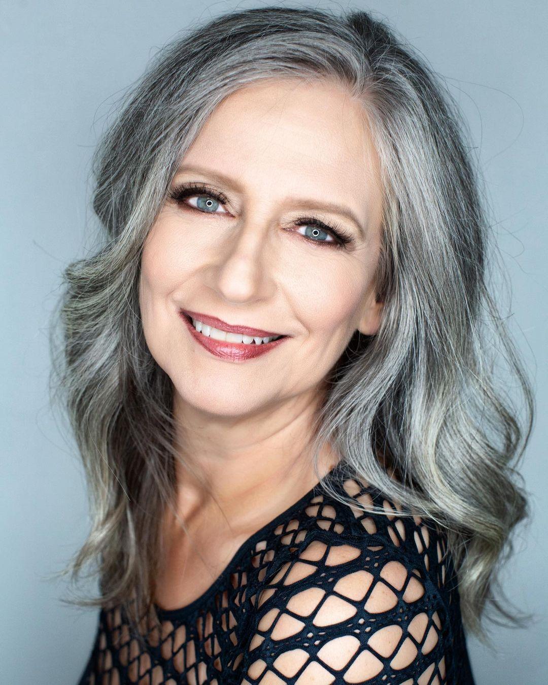 Medium Hairstyle for Natural Gray Hair