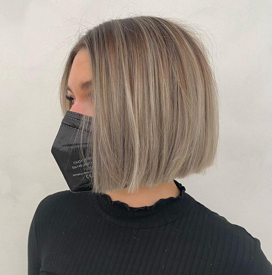 Blunt Gray Blonde Bob Cut