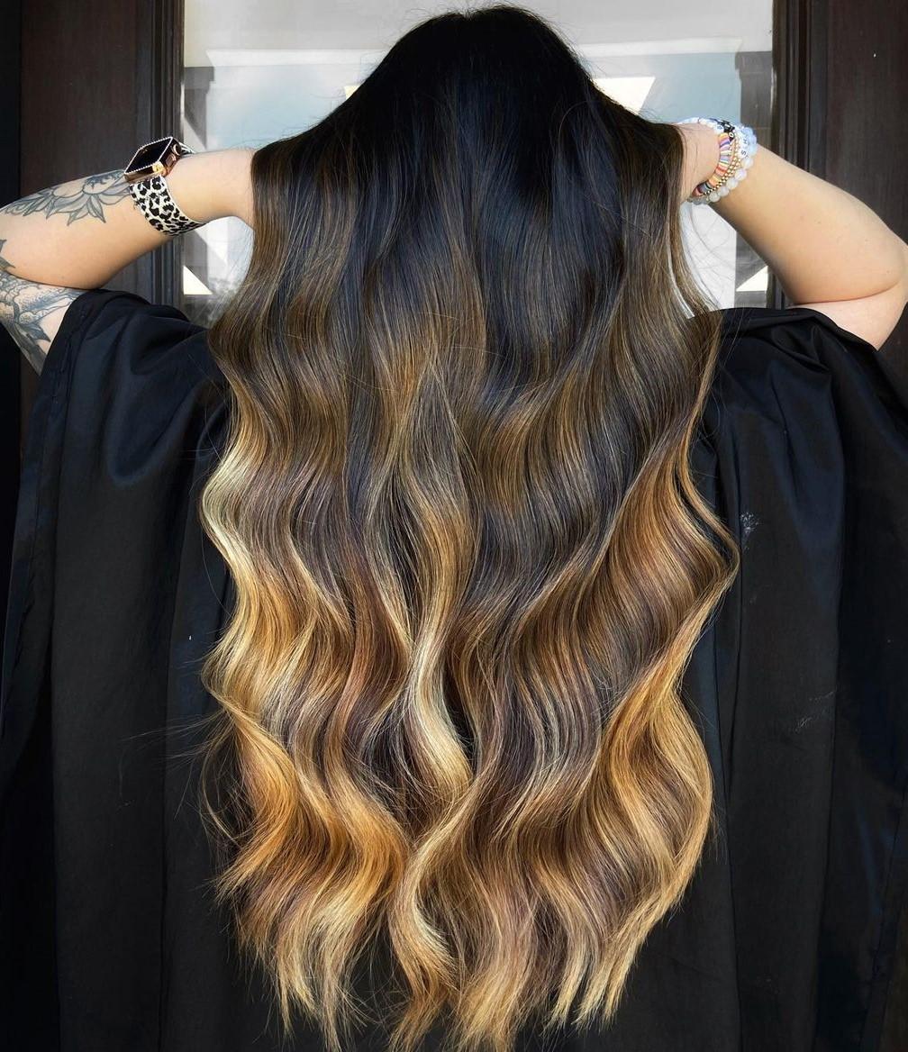 Unique Honey Blonde Ombre on Long Hair