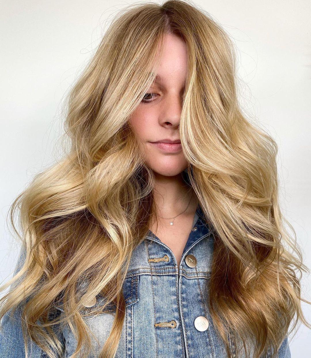 Long Feminine Warm Blonde Hair