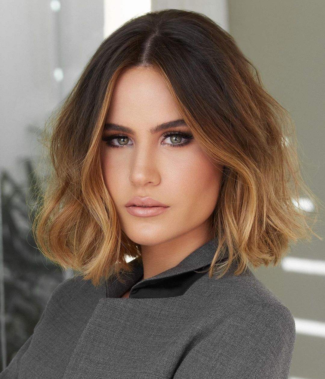 Ombre Lob Cut for Wavy Hair