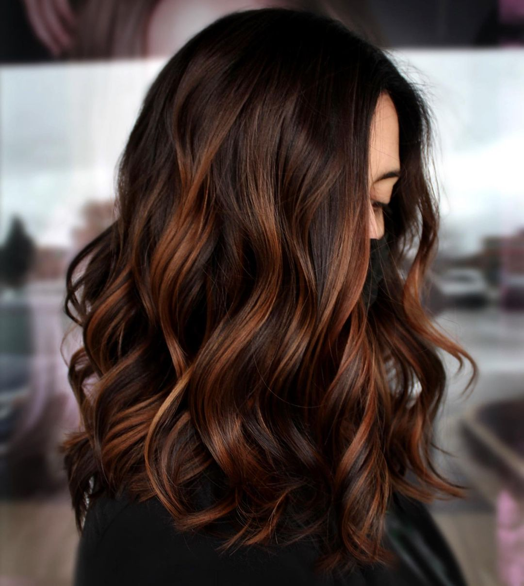 Dark Chocolate Hair with Red Highlights