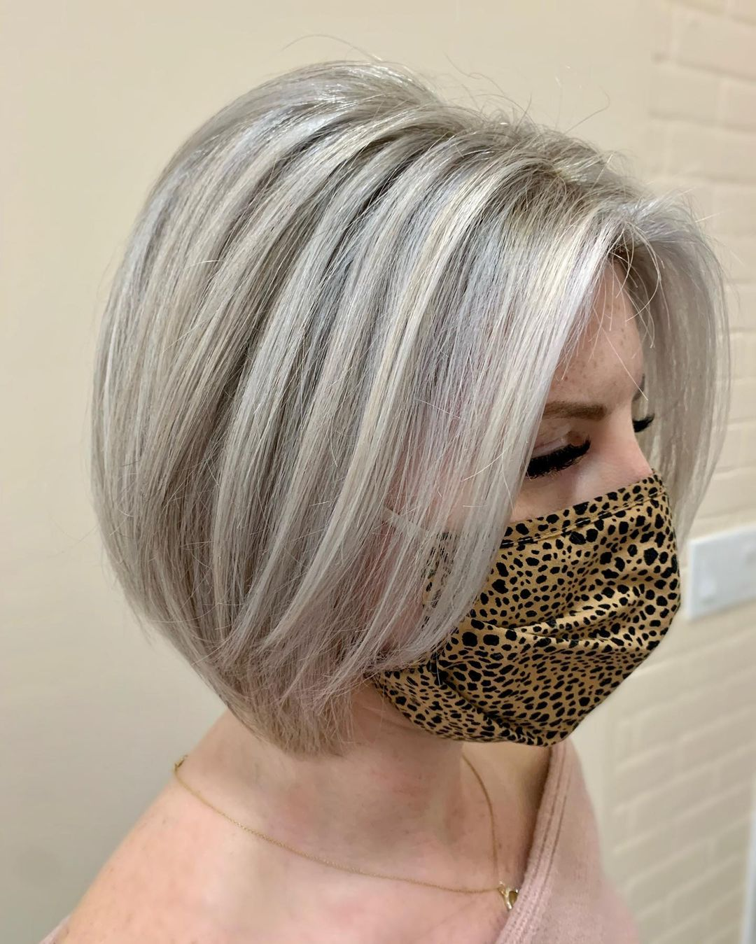 Ash Blonde and Gray Bob Hairstyle