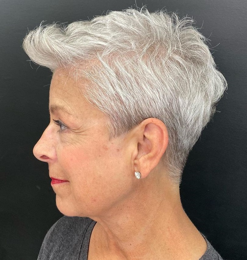 Gray Pixie with Pompadour Bangs