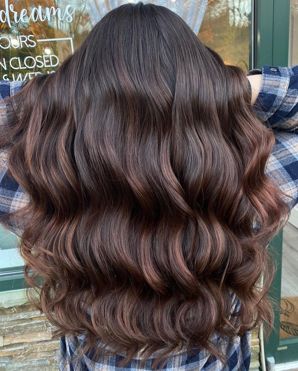 Deep Burgundy Brown Balayage Hair