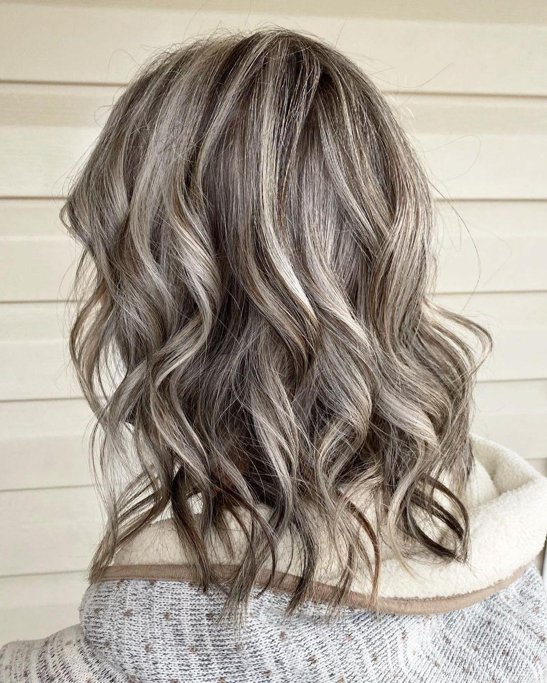 Ash Gray Hair with Lowlights