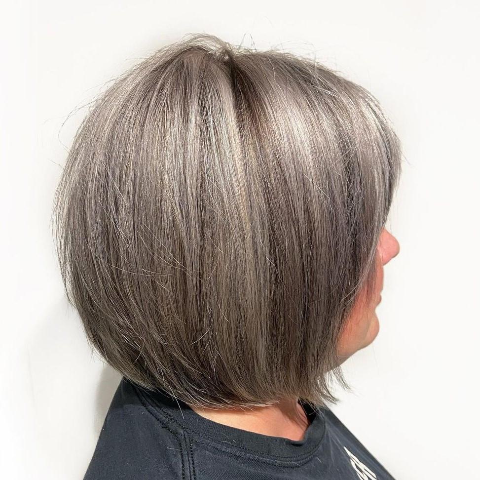 Brown Hair with Subtle Ash Gray Balayage