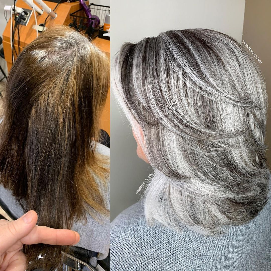 Layered Hair with Gray Highlights