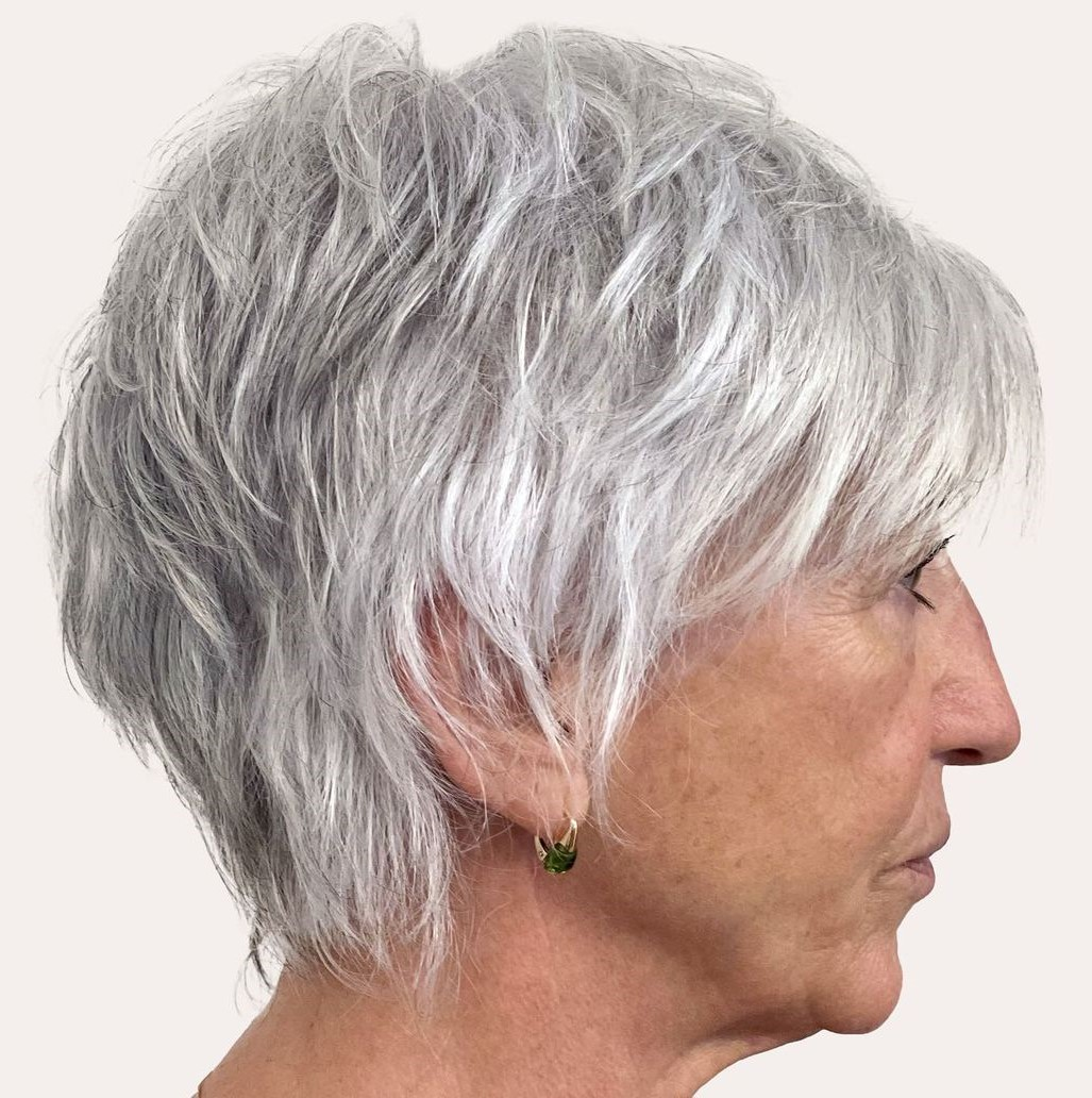 Short Silver Haircut for Older Ladies
