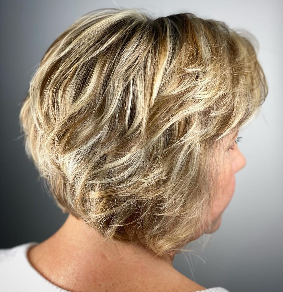 Over 50 Layered Bob for Overweight Women