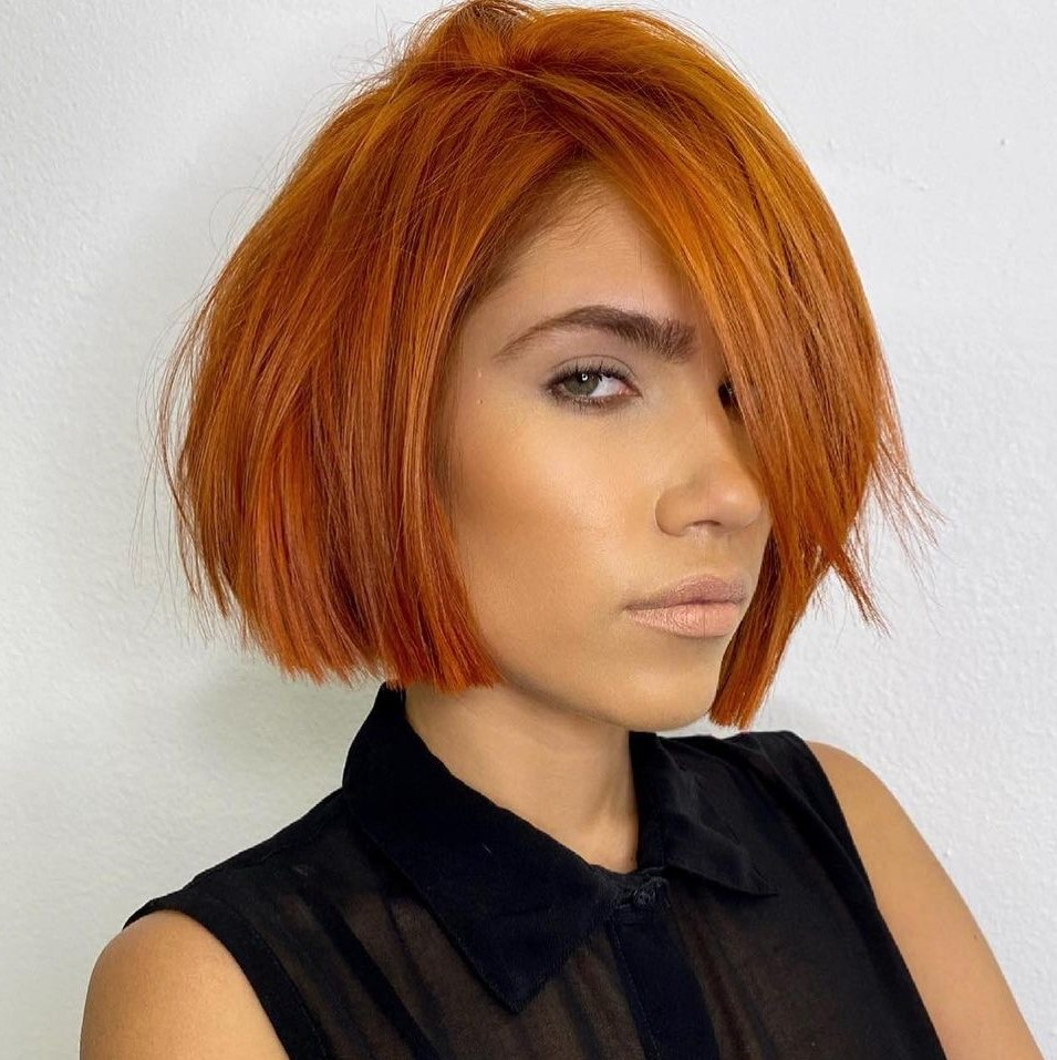 Copper Chin-Length Bob for Straight Hair