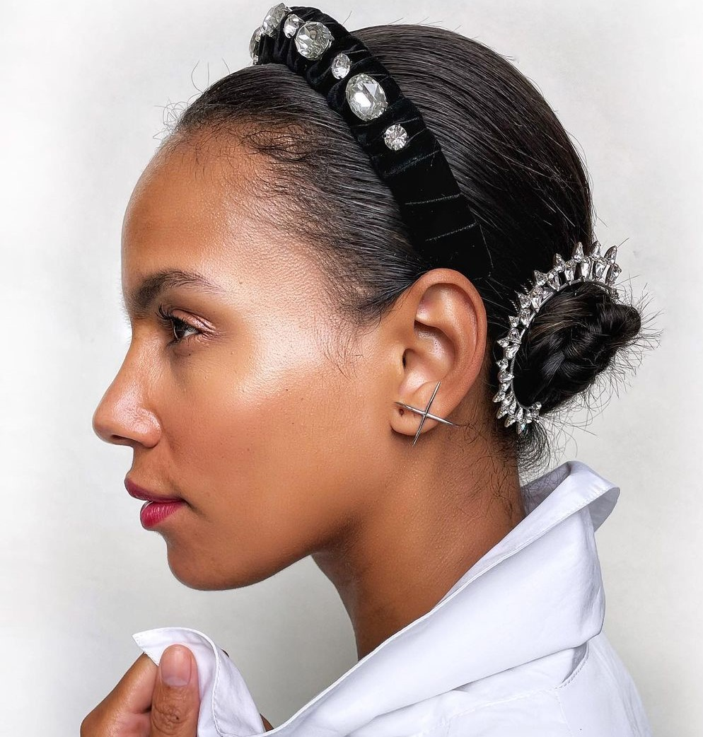 Simple Short Updo Hairstyle with Headband
