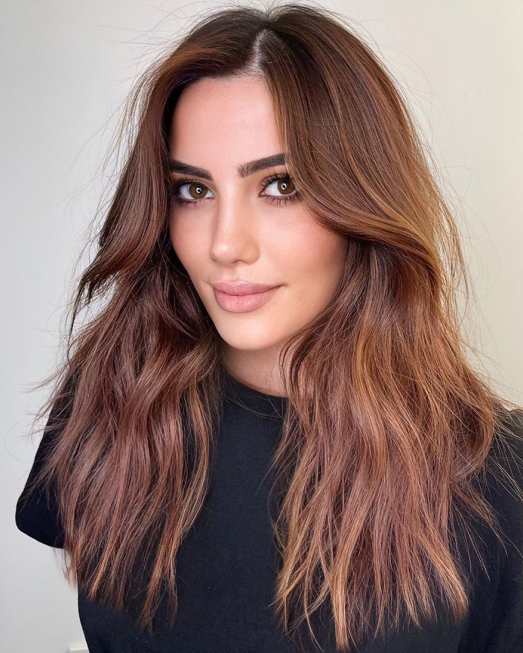 Reddish Brown Hair with Golden Highlights