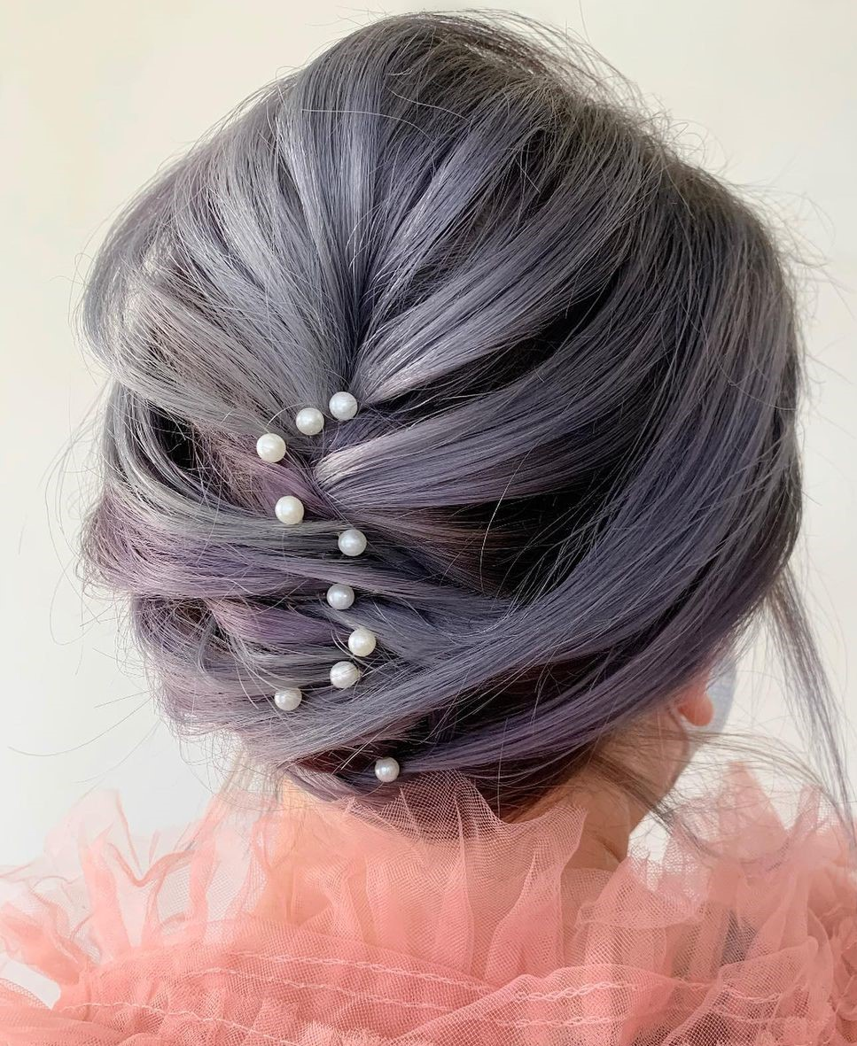 Delicate Lavender Short Hairstyle for Wedding