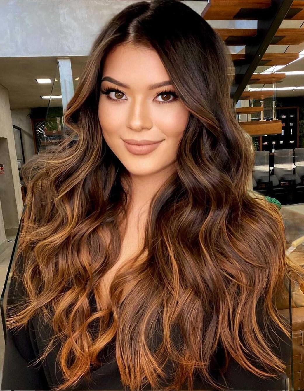 Golden Brown Balayage for Chocolate Hair