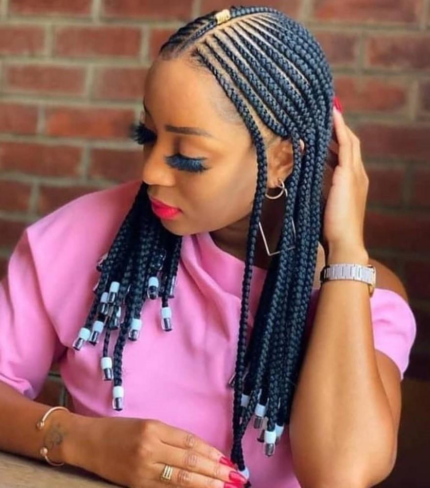 Medium Beaded Fulani Braids with No Edges