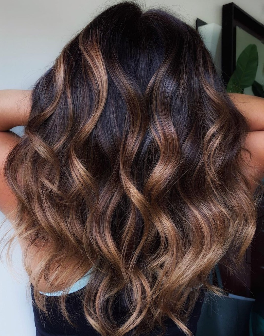 Golden Brown Highlights for Dark Hair