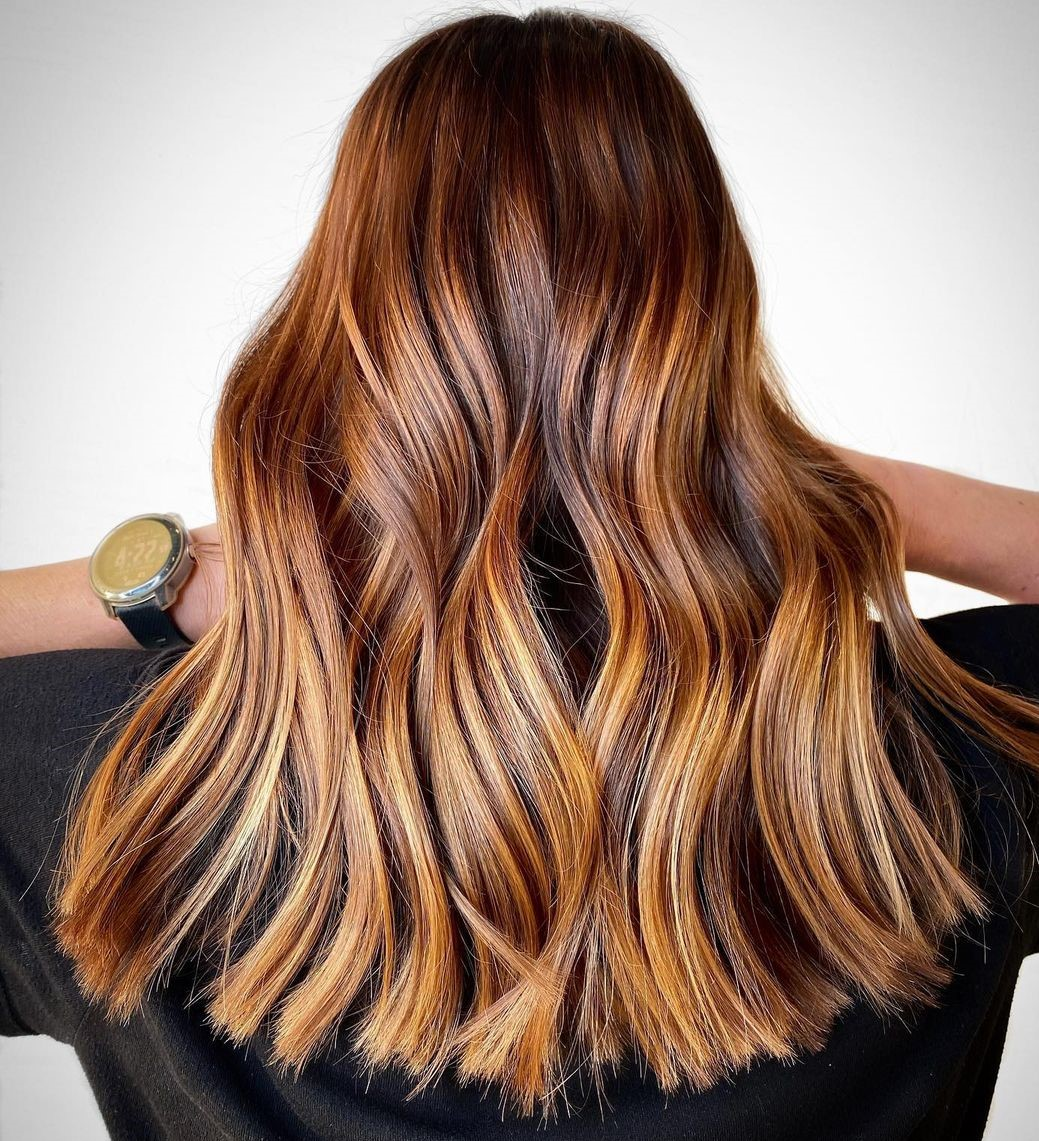 Brown Hair with Auburn and Golden highlights