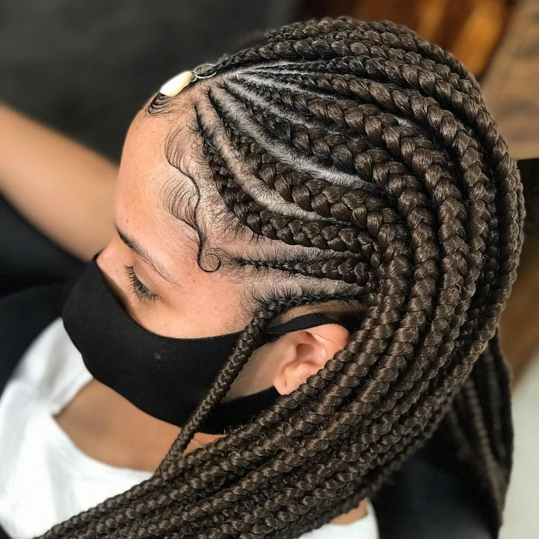 Brown Fulani Braids with a Forehead Charm
