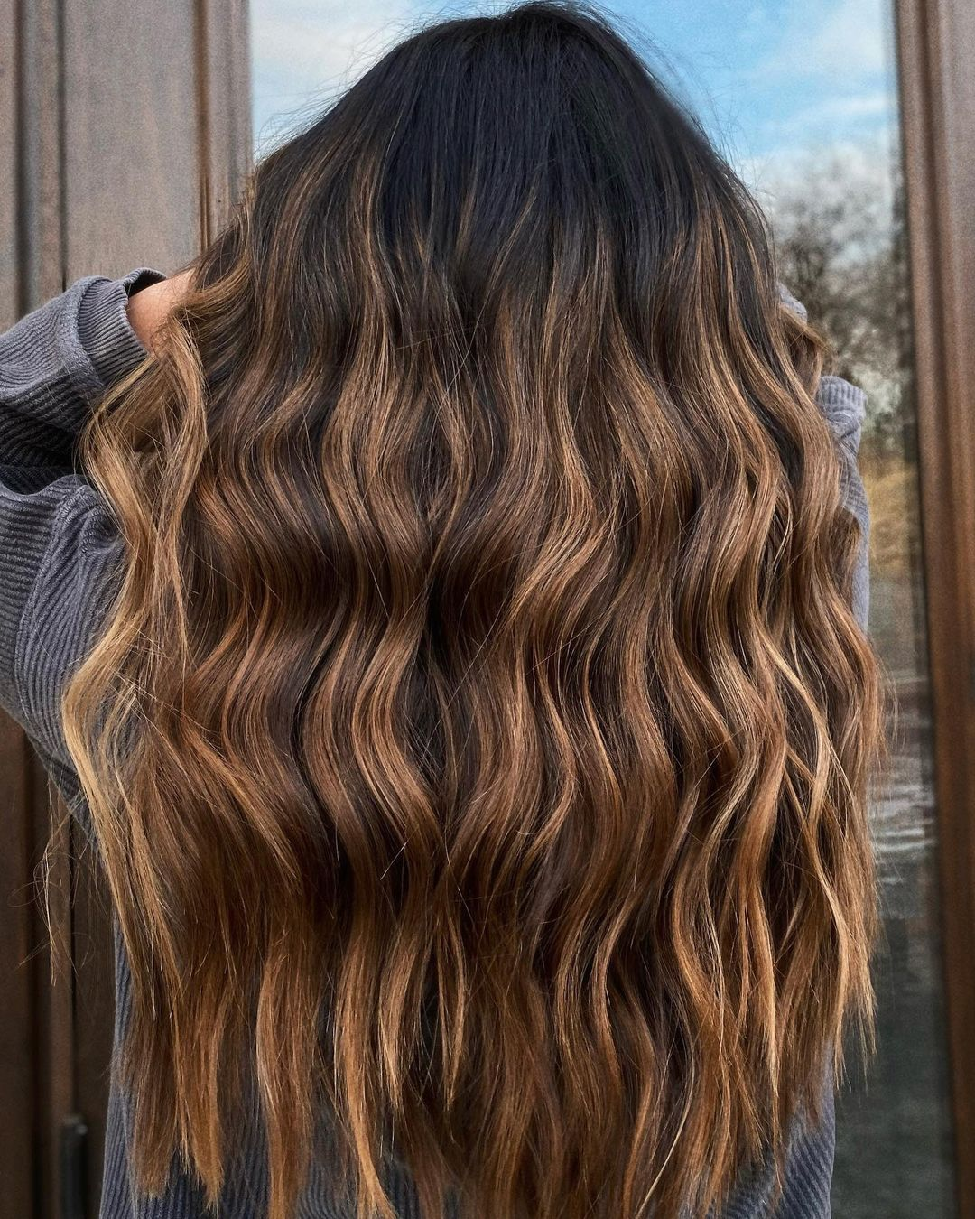 Dark Brunette Hair with Golden Highlights