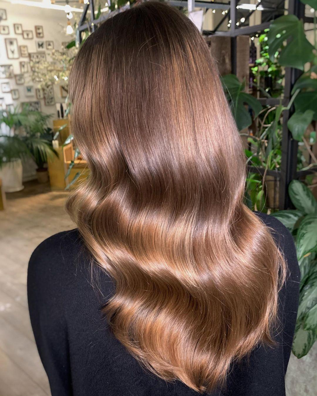 Glossy Light Golden Brown Waves