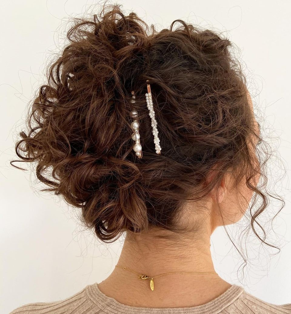 Messy Updo for Short Curly Hair