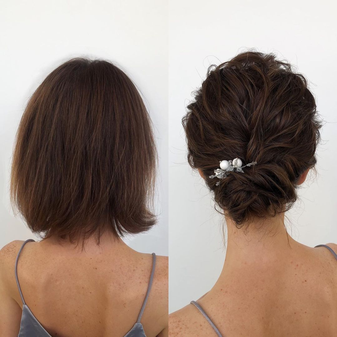 Low Wavy Updo with Volume