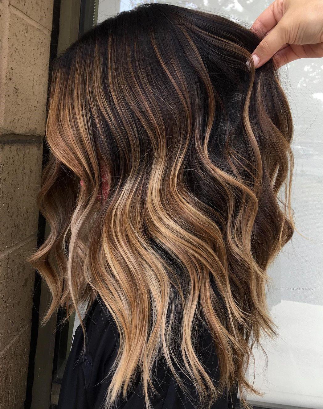 Golden Highlights for Dark Brown Hair