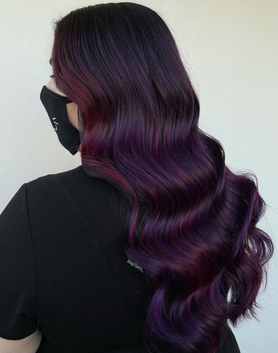 Plum Hair Color with Burgundy Highlights