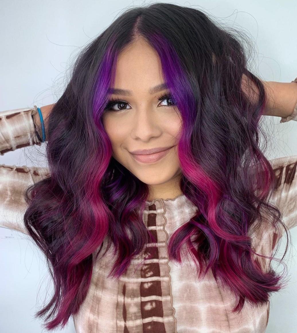 Dark Hair with Fuchsia and Purple Money Pieces