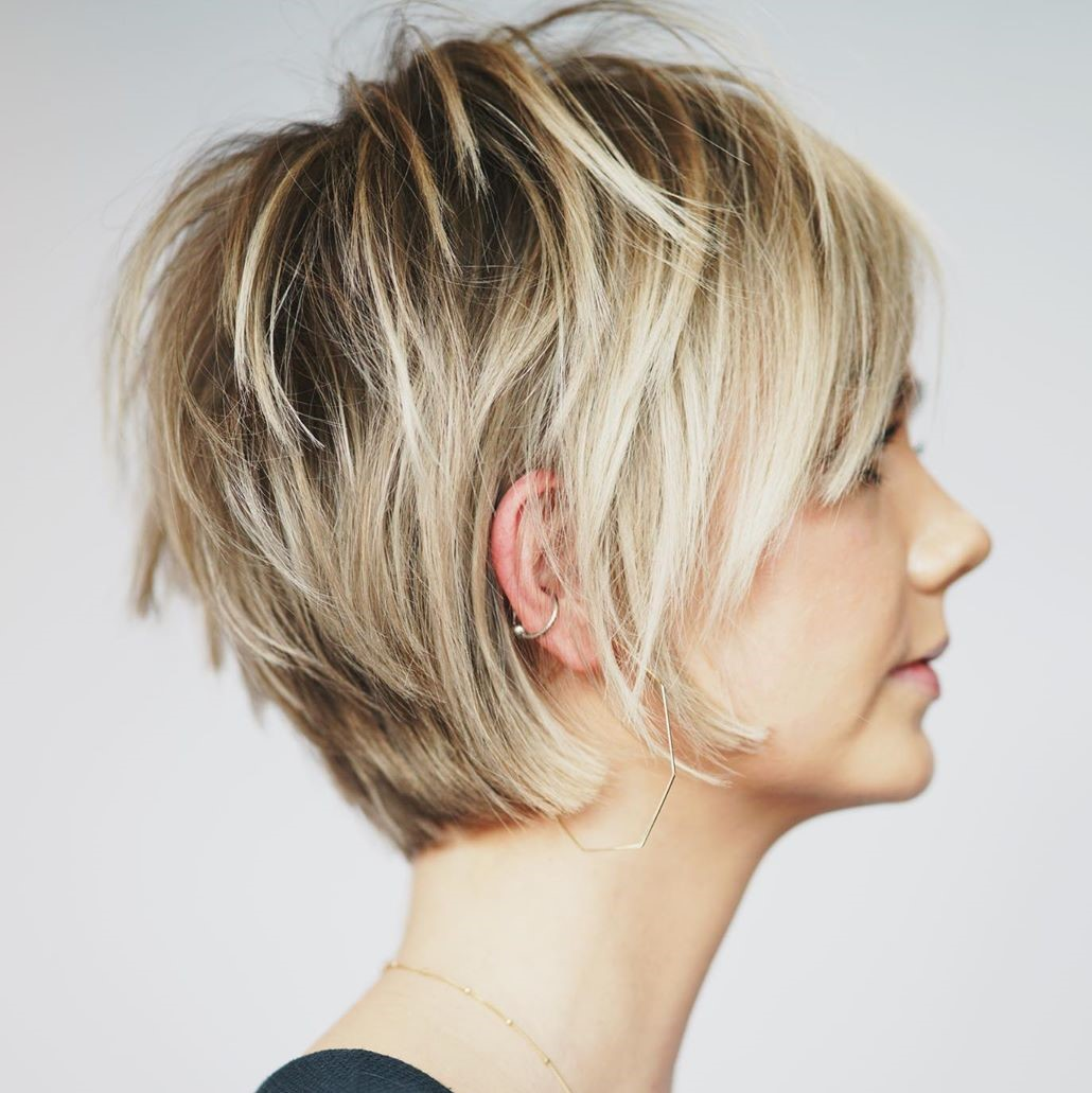 Messy Blonde Pixie with Dark Roots