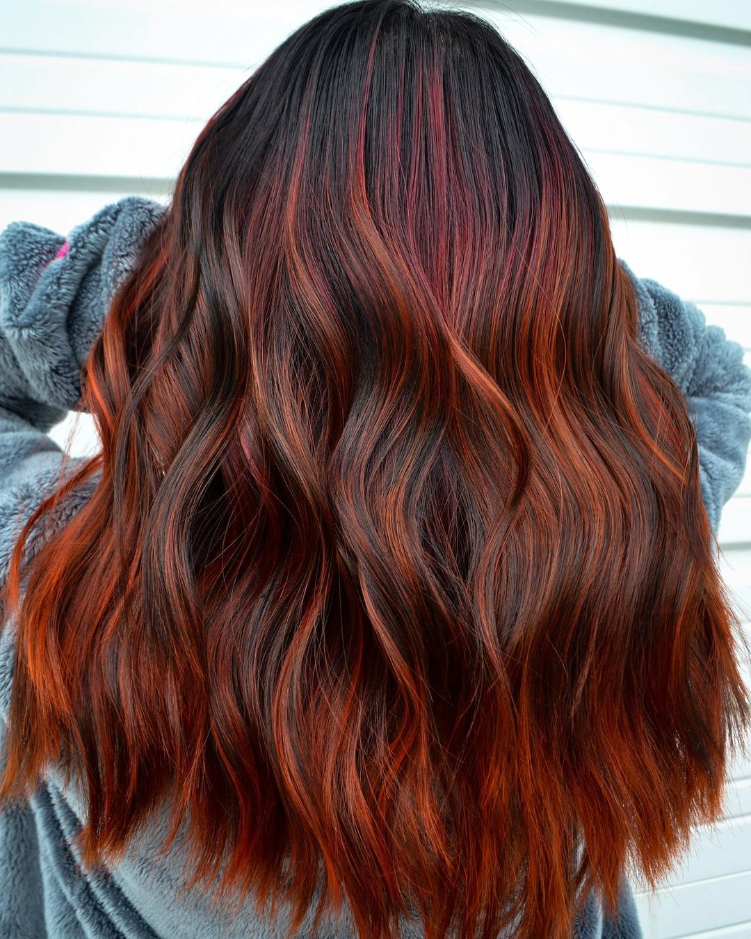 Dark Shadow Roots and Red Highlights
