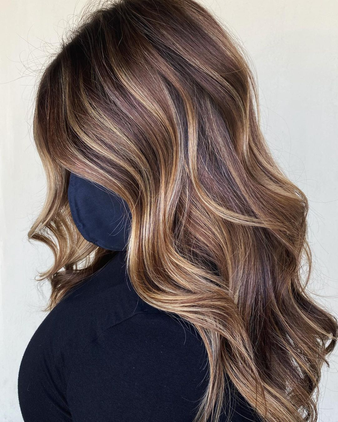 Brunette Balayage with Warm and Cool Highlights