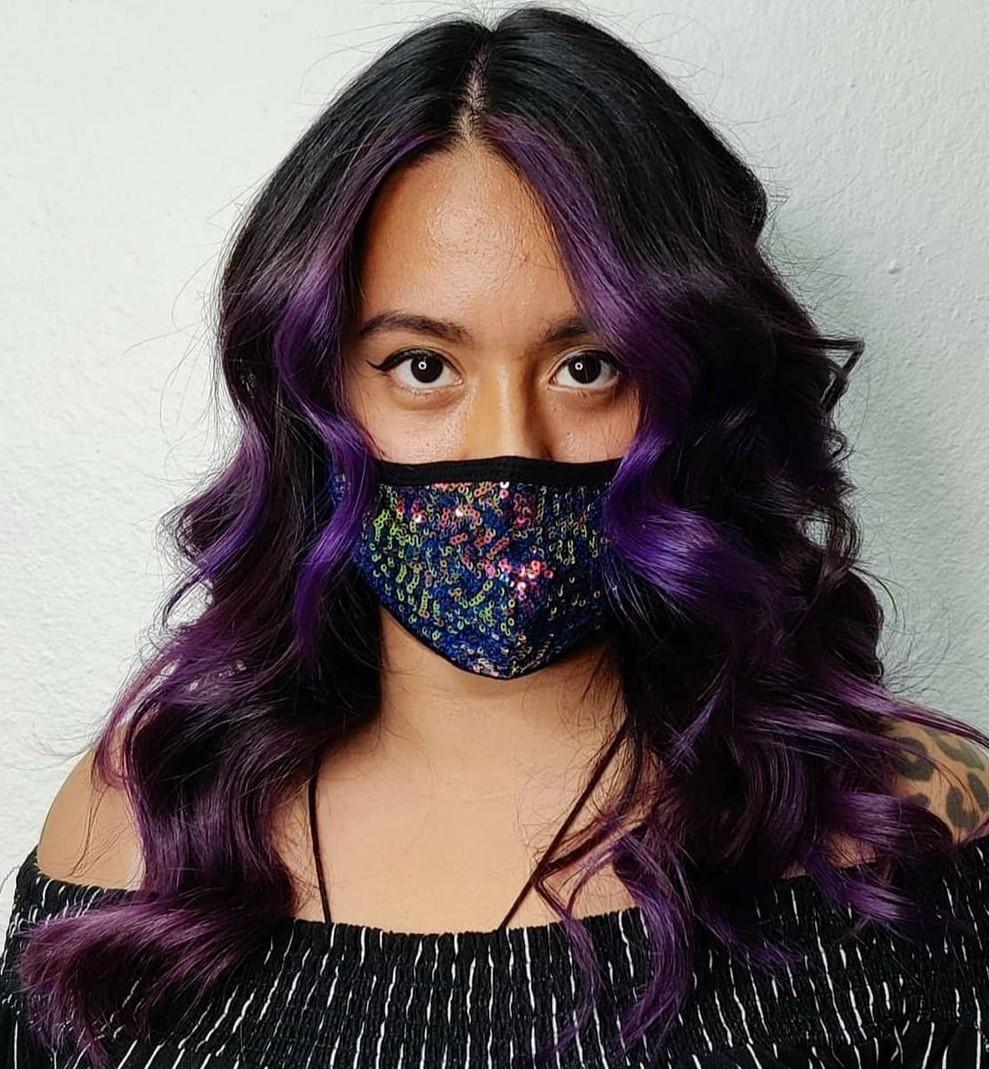 Plum Purple Hair Streaks for Black Hair