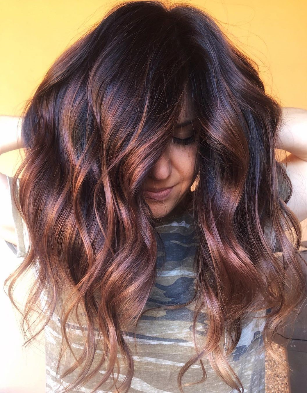 Dark Brown Balayage Hair with Shadow Root