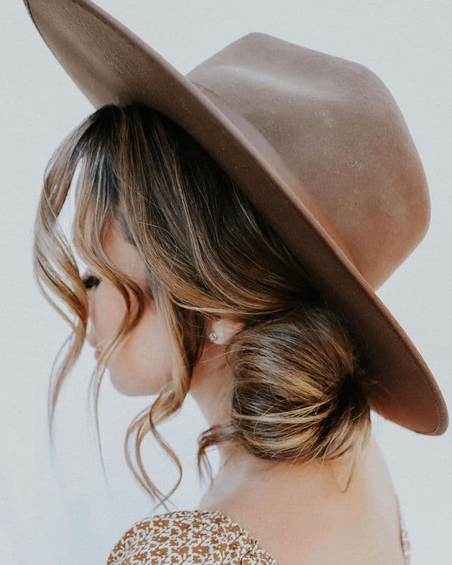 Low Bun Hairstyle with a Hat