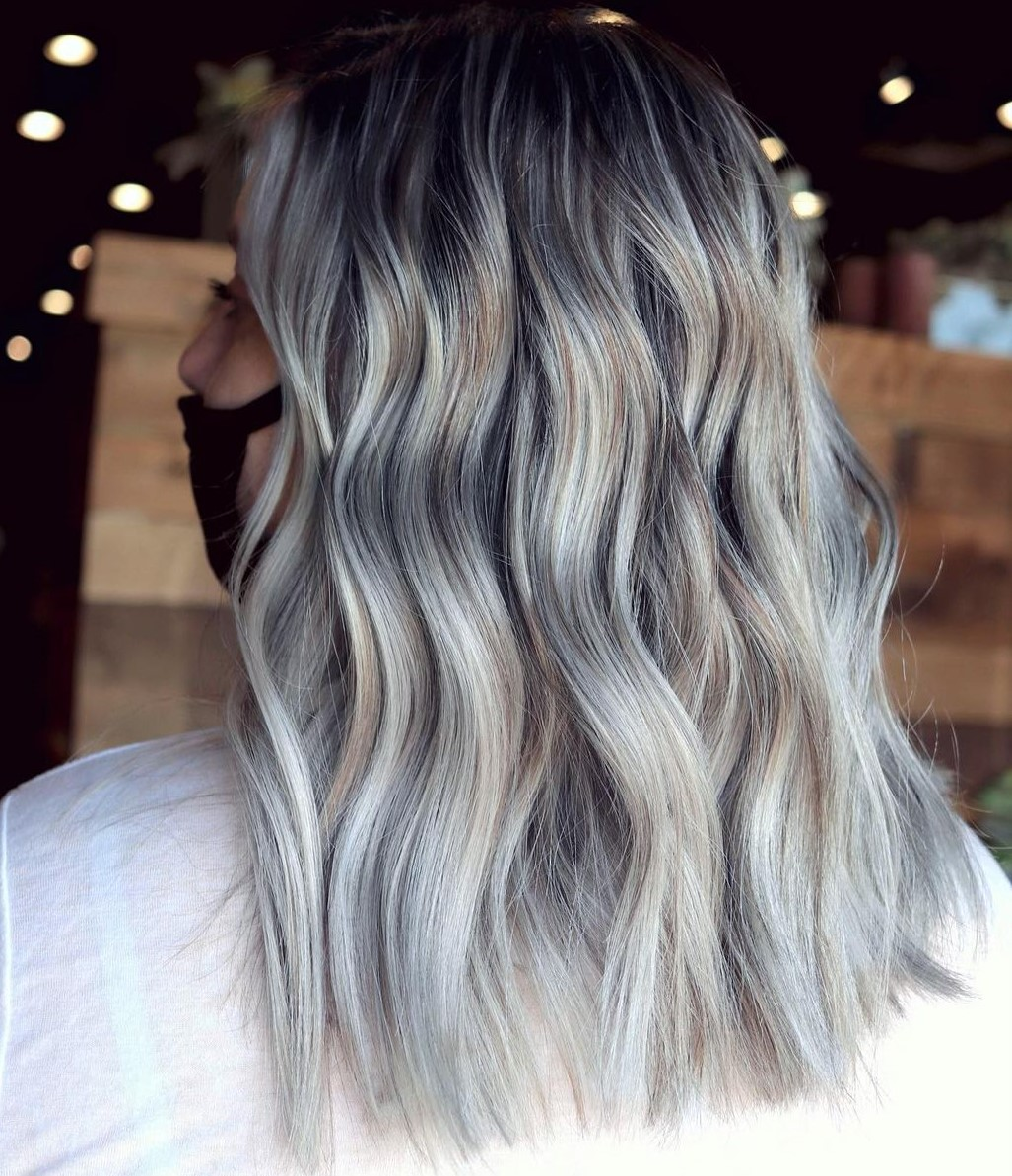 Black Hair with Full Platinum and Silver Highlights
