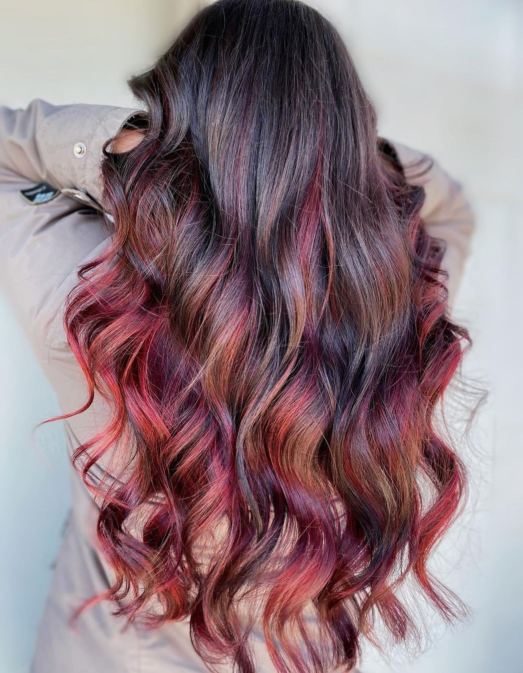 Brown Hair with Red Plum Highlights