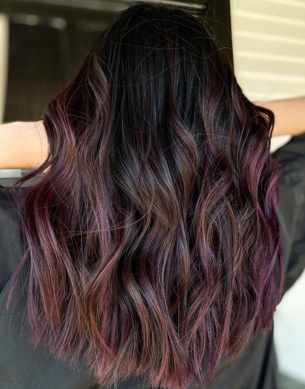 Chocolate Hair with Subtle Plum Highlights