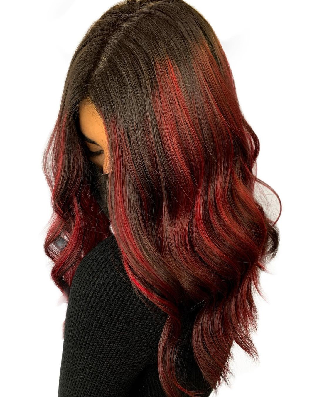 Brunette Hair with Red Balayage