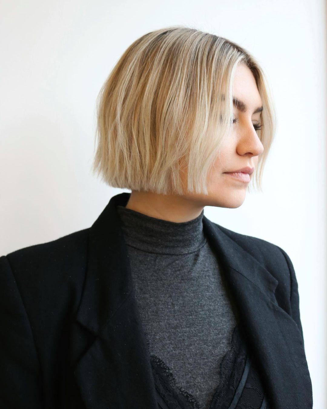 Short Blunt Blond Haircut
