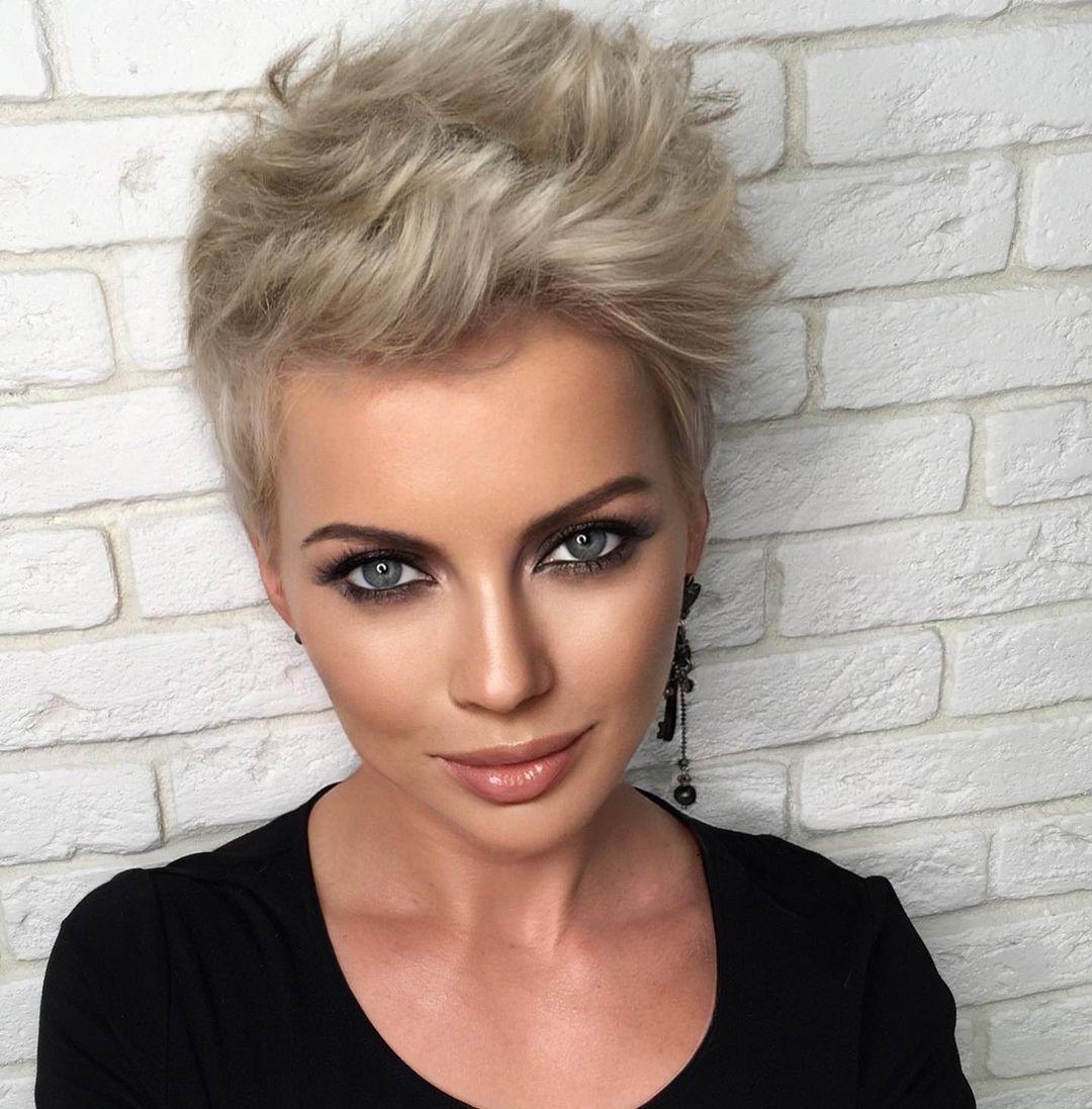 Short Ash Blonde Pixie Haircut