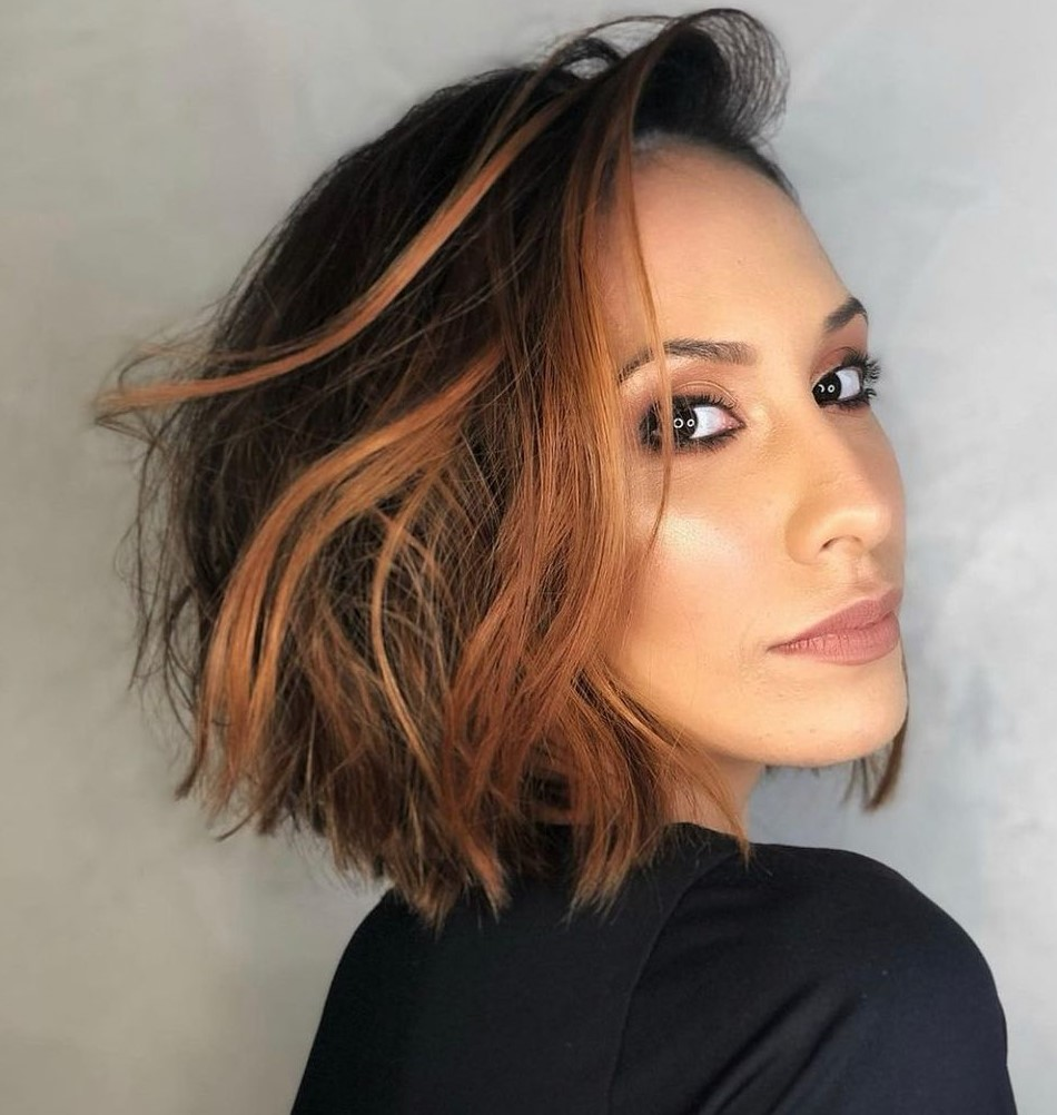 Short Hair with Partial Copper Highlights