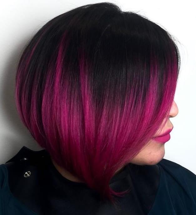 Bold Black and Raspberry Plum Hair