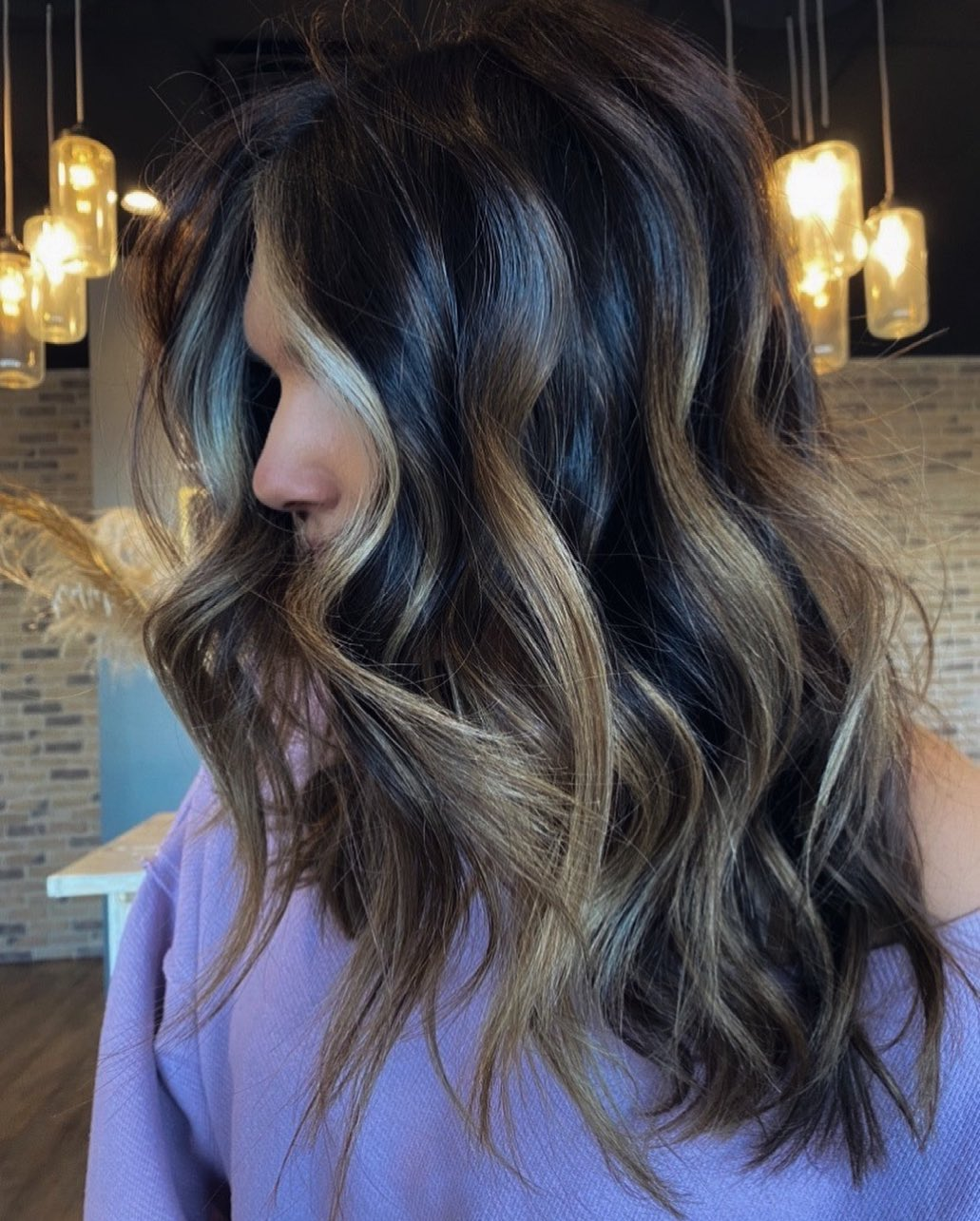 Brunette Balayage with Blonde Highlights
